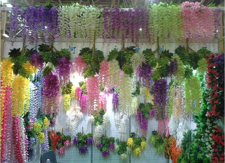 Online Cheap Silk Flower Artificial Flower Wisteria Vine Rattan