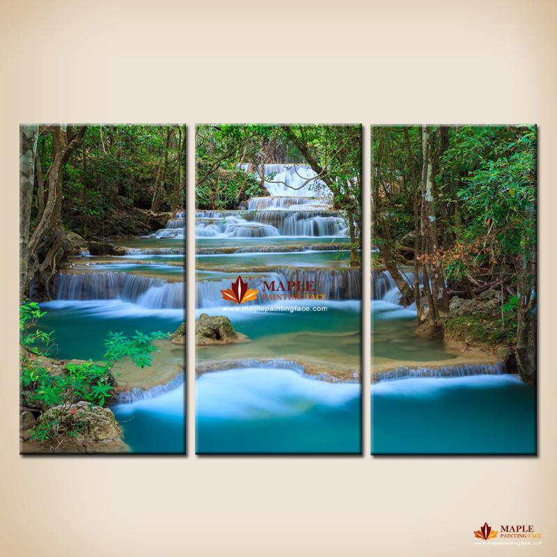 3 Pcs Canvas Wall Art Waterfall Painting Wall Picture For Living Room Wall  Decor Canvas Print
