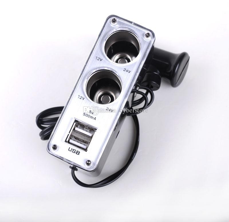 12V-24V 2 Way Car Cigarette Lighter Multi Socket Twin USB Ports Cellphone Charger Adaptor For phone iphone Samsung HTC Sony IPAD