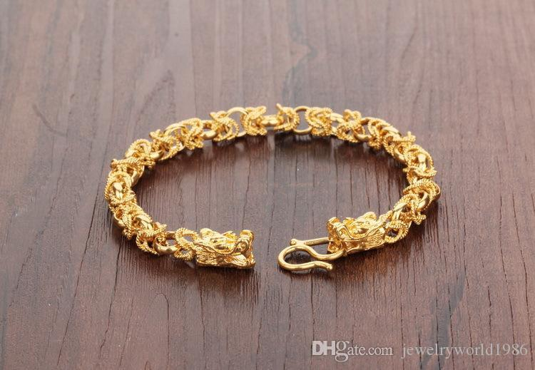Snel gratis verzending Fijn zware mannen 24K geelgoud gevulde ketting armband set GF Curb Chain Free Mens Jewerly Sets Necklace Bracelet