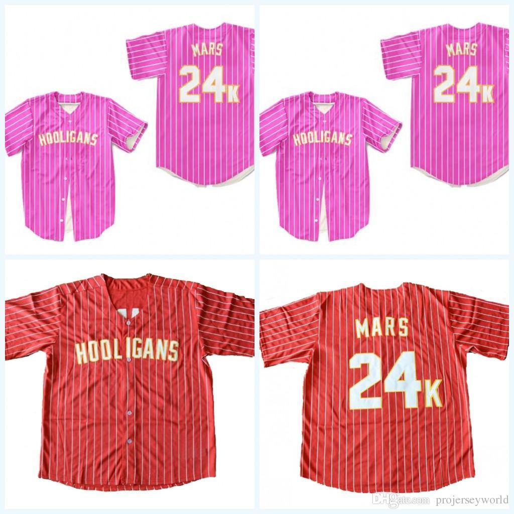 24K Mens Womens Youth Bruno Mars Hooligans Red Pink Baseball Jersey BET  Awards Baseball Jerseys All Stitched UK 2019 From Projerseyworld 65f70fe5ff