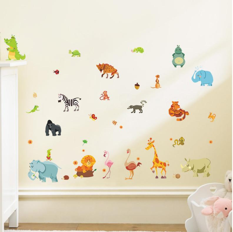 Jungle Forest animals zoo lion elephant snake diy home decals wall stickers Safari nursery rooms kids bedroom decoration gifts