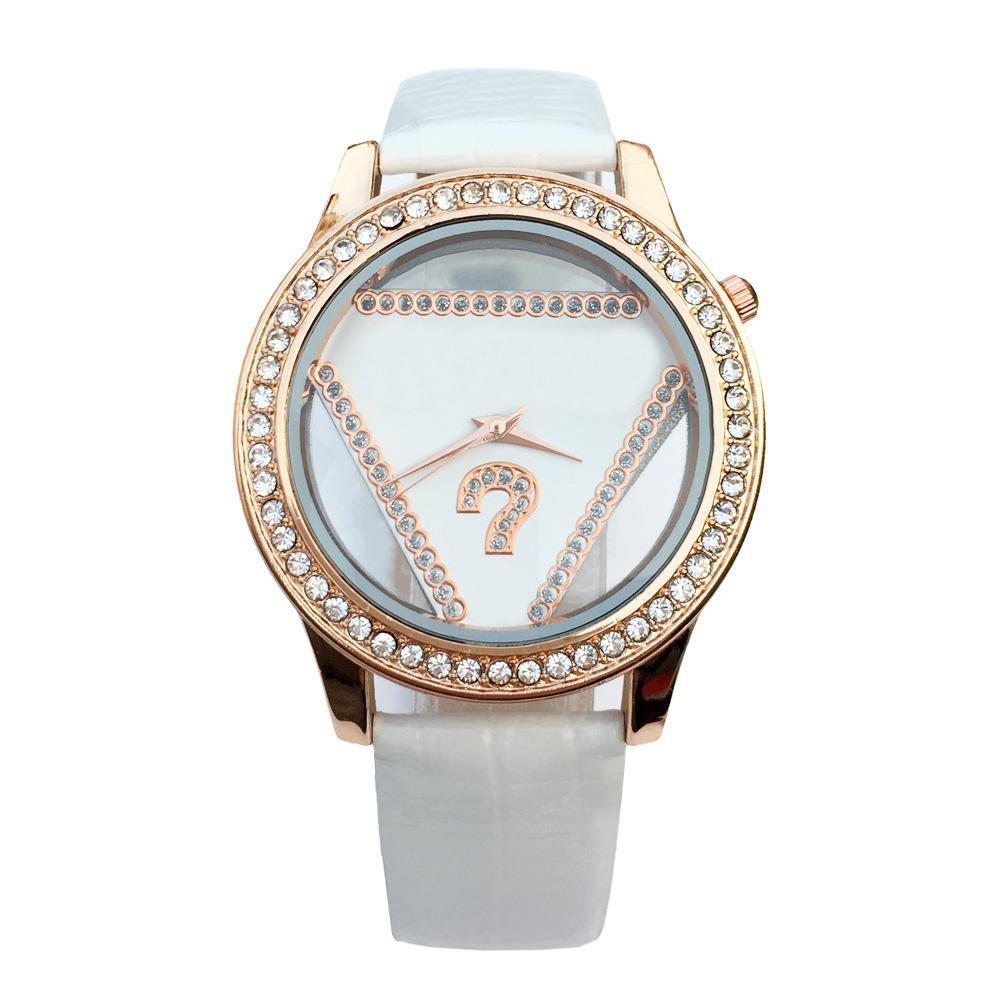 Art und Weise Markenfrauen Mädchen Kristall Dreieck Stil Zifferblatt Lederband Quarz Armbanduhr GS05