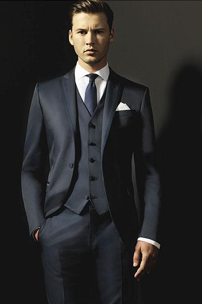 Custom Charcoal Grey Wedding Suit For Men Peaked Lapel Mens Suits ...