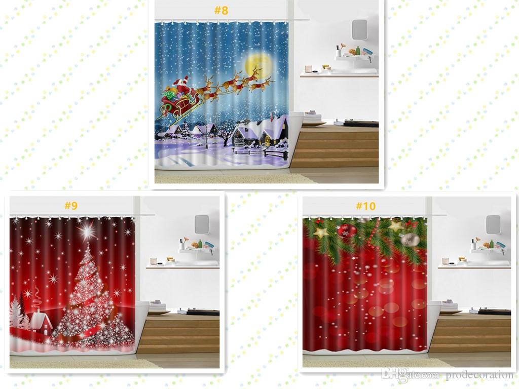 2018 New Christmas Shower Curtain 165180cm Santa Claus Snowman Pattern Bathroom For Decoration Top 10 Kinds From Prodecoration