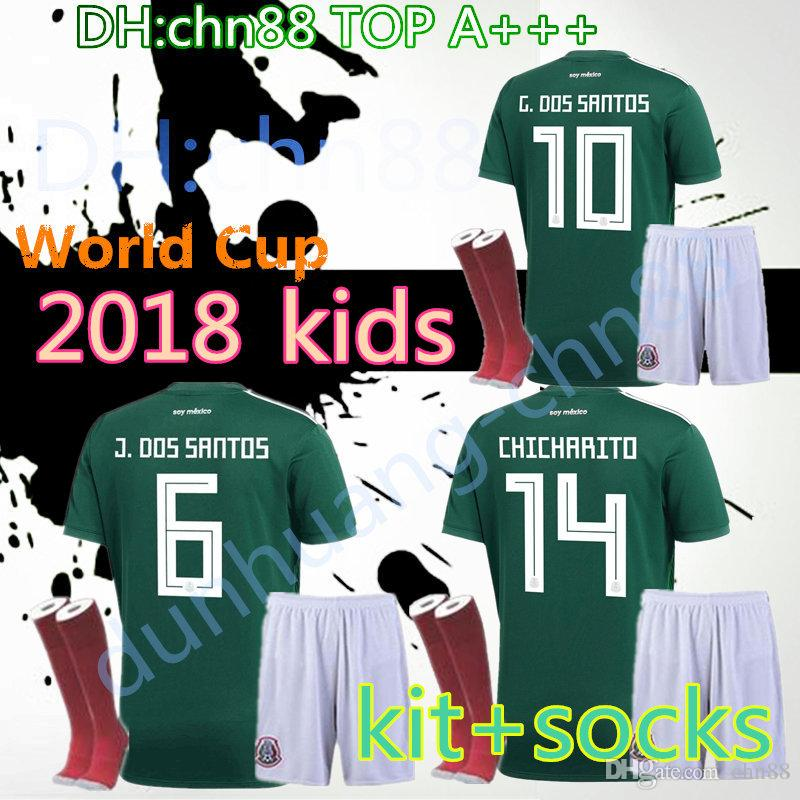 Mexico Jersey 2018 Kids Kit+socks World Cup Green  10 G.DOS SANTOS  7  M.LAYUN  14 CHICHARITO Football Shirts 17 18 Mexico Soccer Jerseys  Wholesale Cheap ... c575ca70b