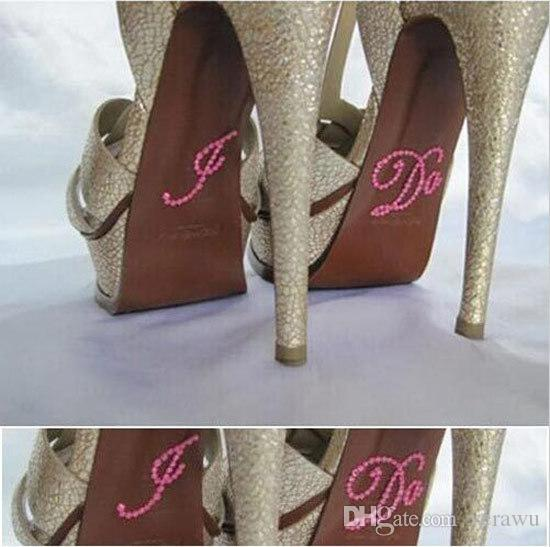 I Do Blue/Pink Clear Bridal/Groom Rhinestone Shoe Decal Sticker Set Appliques Something Creative Wedding Decoration Cheap