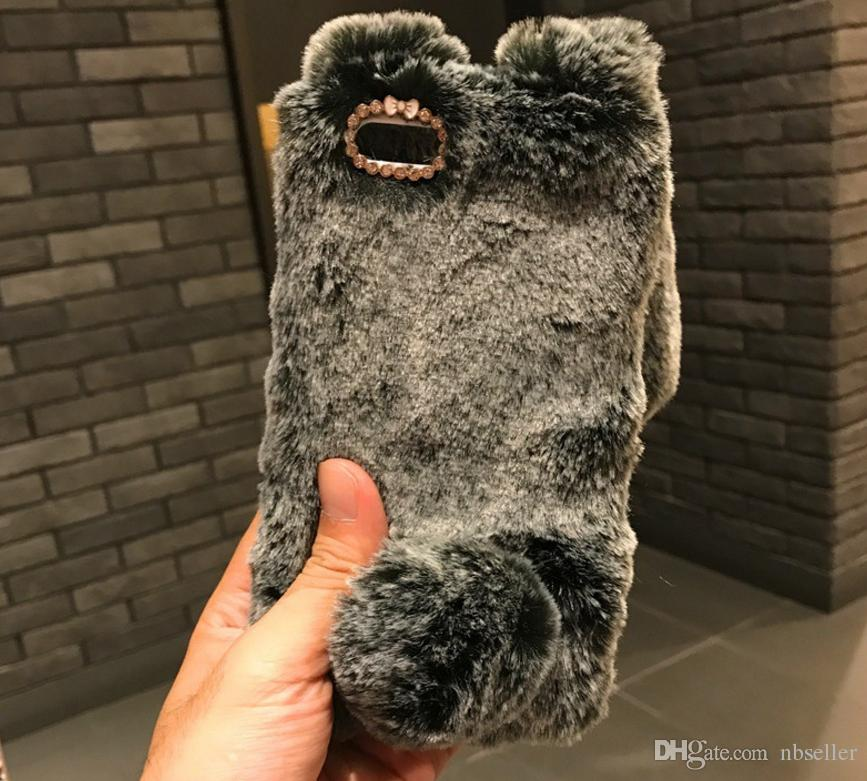 3D Rabbit ear soft Fur diamond cover Case For Iphone X 8 7 6 6S Plus 5C Samsung Galaxy Note 5 4 NOTE8 S7 S6 Edge S5 S4 s8