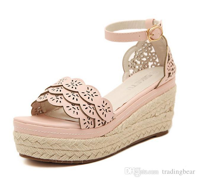4de6019cb8b Lena ViVi Straw Woven Pink Lace Ankle Strap High Platform Wedge Sandals  Women Shoes Wedding Shoes Size 35 To 39 Leather Sandals Wedding Sandals  From ...