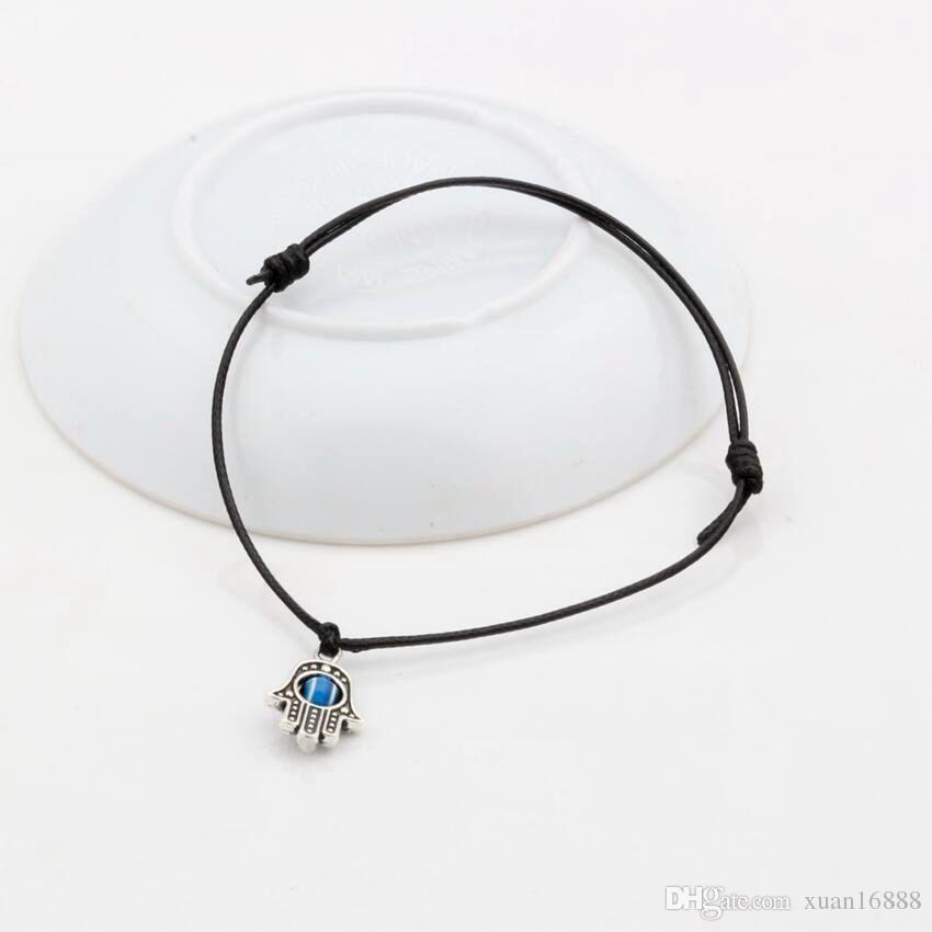 Caliente ! Hamsa mano de perlas mal de ojo LUCKY Negro del color de la cera de la cuerda pulseras espirituales Protección éxito