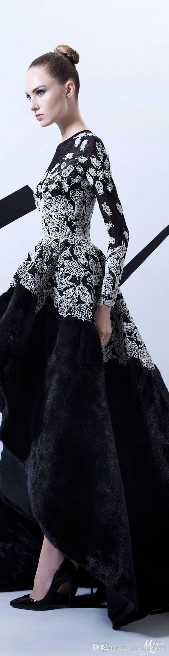 Rami Kadi 2016 Spring Amazing Lace Embroidery Velvet Long Sleeve Evening Dresses High Low Ball Gown Prom Dresses Custom Make