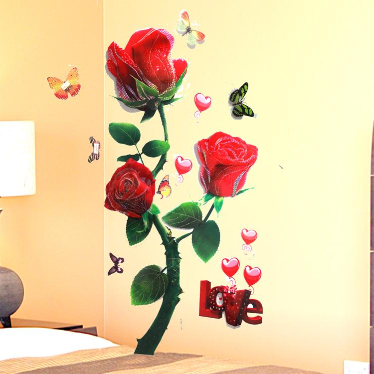 Amazing Red Rose Wall Decor Composition - Wall Art Collections ...