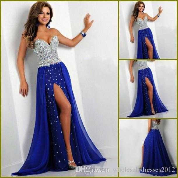 Fashion Sweetheart Beaded Silver Diamond Chiffon Blue Prom Gowns ...
