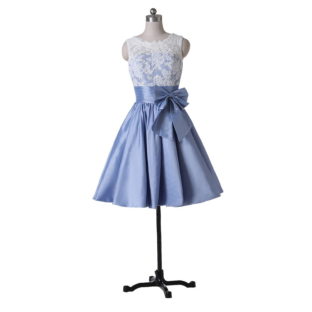 Short Cocktail Dresses A Line Party Gowns New Coming Taffeta Bow W7100 Colorful Sheer Appliques Scoop Modern Low Back Custom Made Fantastic