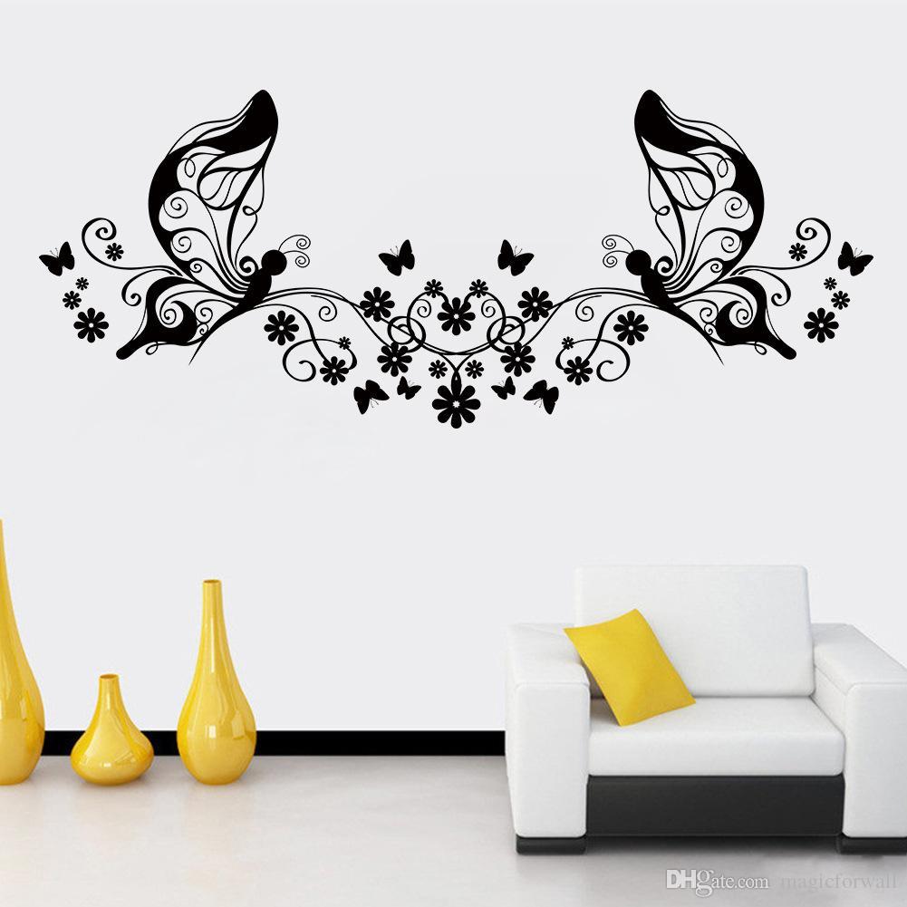 فراشة زهرة كرمة جدار الفن صائق ملصقا فراشة الجنية جدار الفن جدارية ديكور غرفة المعيشة التلفزيون خلفية الجدار الديكور زين