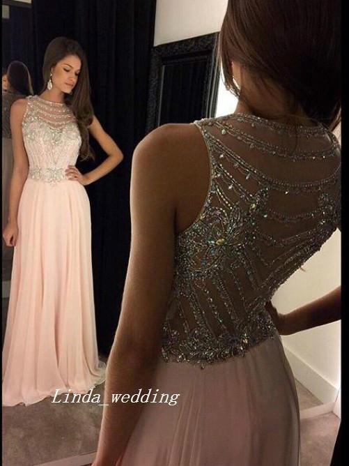 Бесплатная доставка румяна-розовый принцесса совок без рукавов шифон кристалл бисером развертки кисть поезд длинные вечерние платья