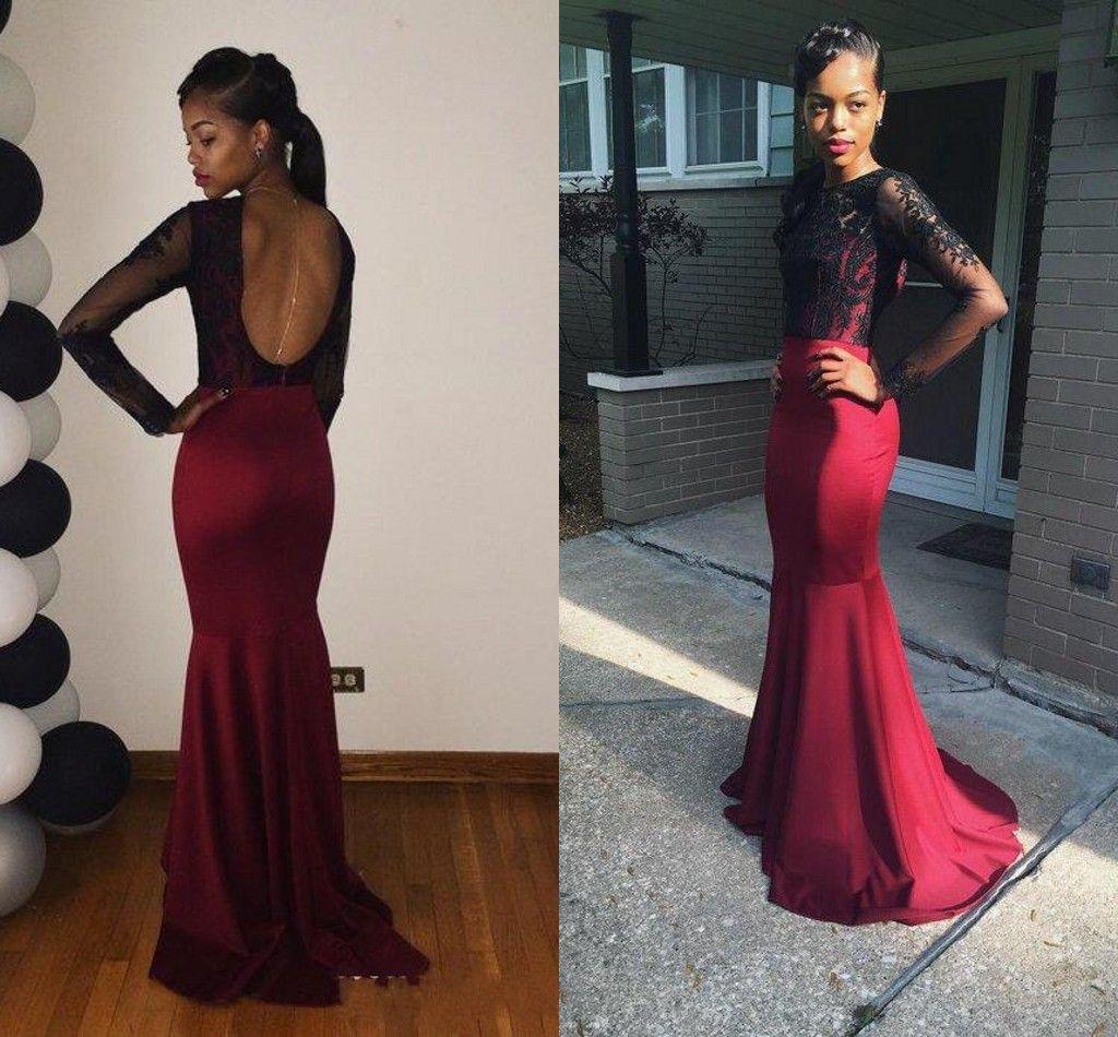 Long Sleeve Dark Red Black Evening Dresses 2015 Crew Sexy Backless vestidos de De Festa Prom Party Gowns 2016