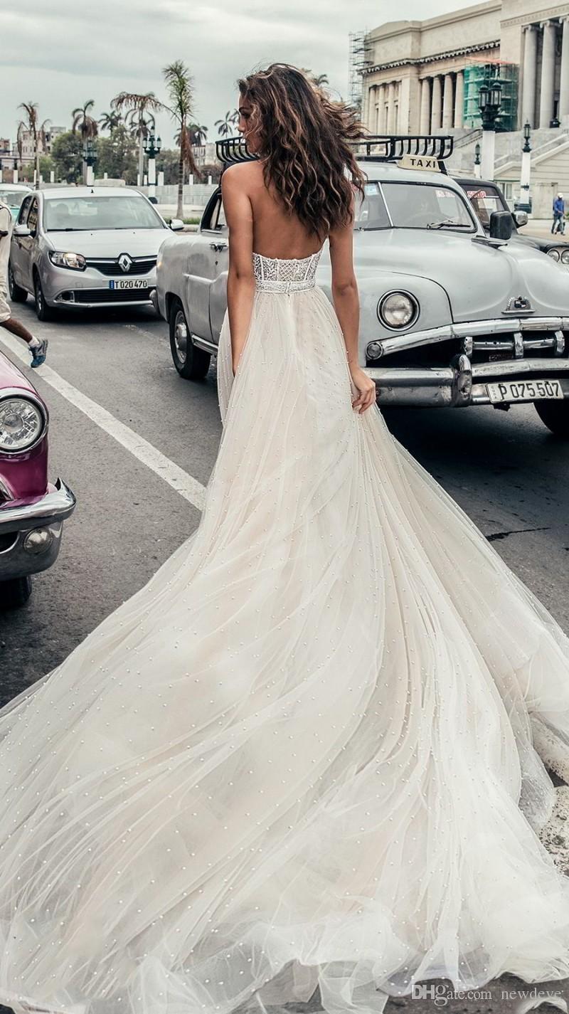 Julie Vino completa frisada vestidos de casamento Praia Querida Backless vestidos de noiva Vestido De Novia Lace Corset A-Line Vestido de Noiva