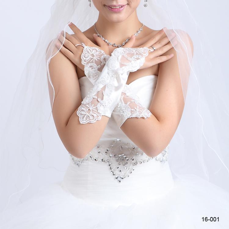 2019 Свадебные перчатки Бесплатная доставка в наличии белые или слоновая кость свадебные платья ну вечеринку без пальцев жемчужина кружева атласная бесплатная доставка