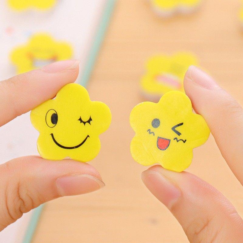 Fashion Practical Erasers For Student Pencil Eraser Yellow Flower Shape Emoji Pattern Stationery Supplies Hot Sale 0 09xk B
