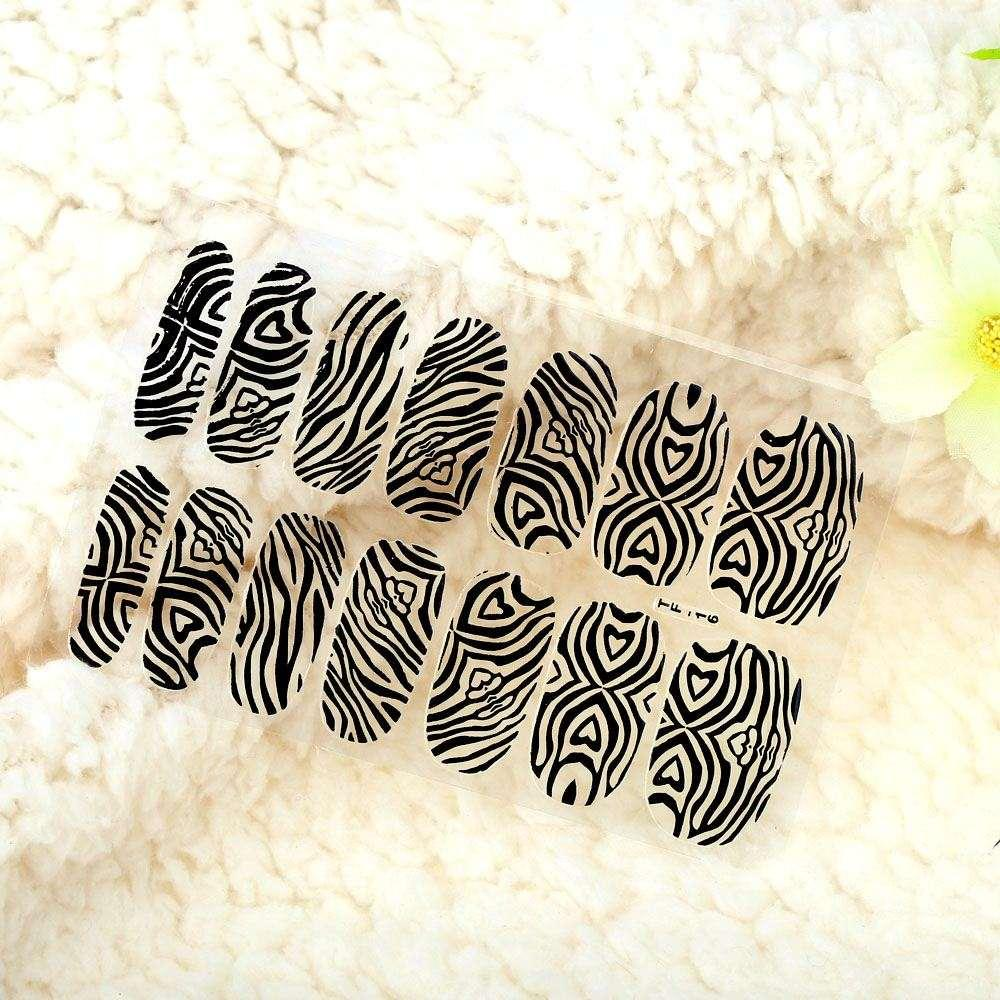 Bricolage Nail Art Stickers Patch Wraps Doigts Noir / Or Une Feuille Mélange Style Ongles Conseils Décoration maquillage outils Styling