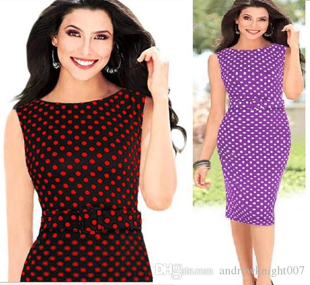 b4c37eb0f5e Women Celebrity Elegant Stretch Tunic Business Wear To Work Pencil Dress  Party Cocktail Sheath Bodycon Polka Dot Dress Woman Dress Affordable Prom  Dresses ...