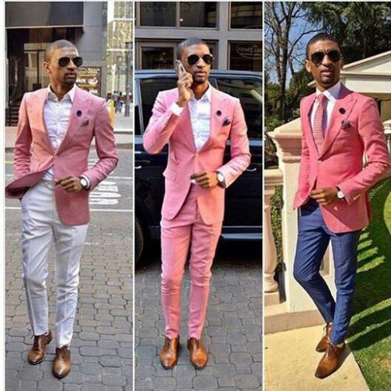 Özel Yapılmış Moda Düğün Smokin Pembe Bir Düğme Damat Takım Elbise Erkek Groomsmen Slim Fit İyi Adam Balo Ünlü Düğün Suit Ceket + Pantolon