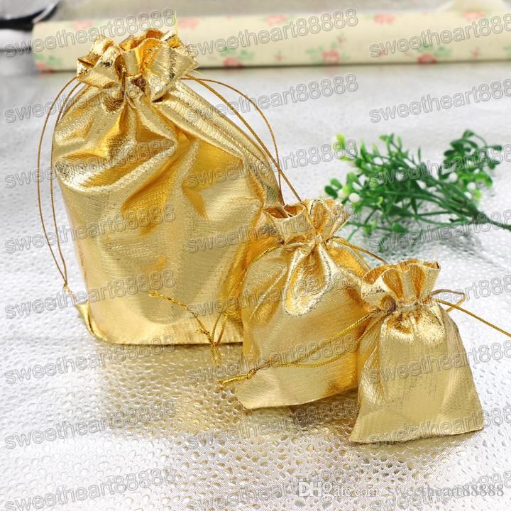 Nuovi 4 formati Fashion Gold Plated Garza Satin Sacchetti di gioielli Gioielli Regalo di natale Sacchetti Sacchetto 6x9 cm 7X9 cm 9x12 cm 13x18 cm