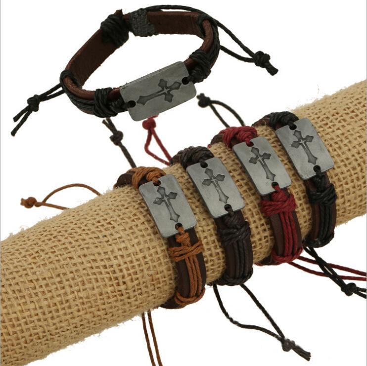 Mode Charmes Bracelets À La Main Infinity 4 Couleur Croix Motif Mix Vente Bracelets En Cuir Pour Hommes Bijoux