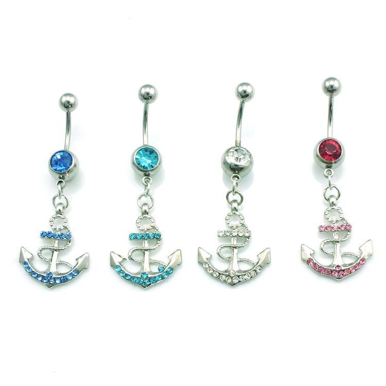 Moda Brzuch Pierścionki Ze Stali Nierdzewnej Dangle 4 Kolor Rhinestone Anchor Seksowny Pępek Body Piercing Biżuteria