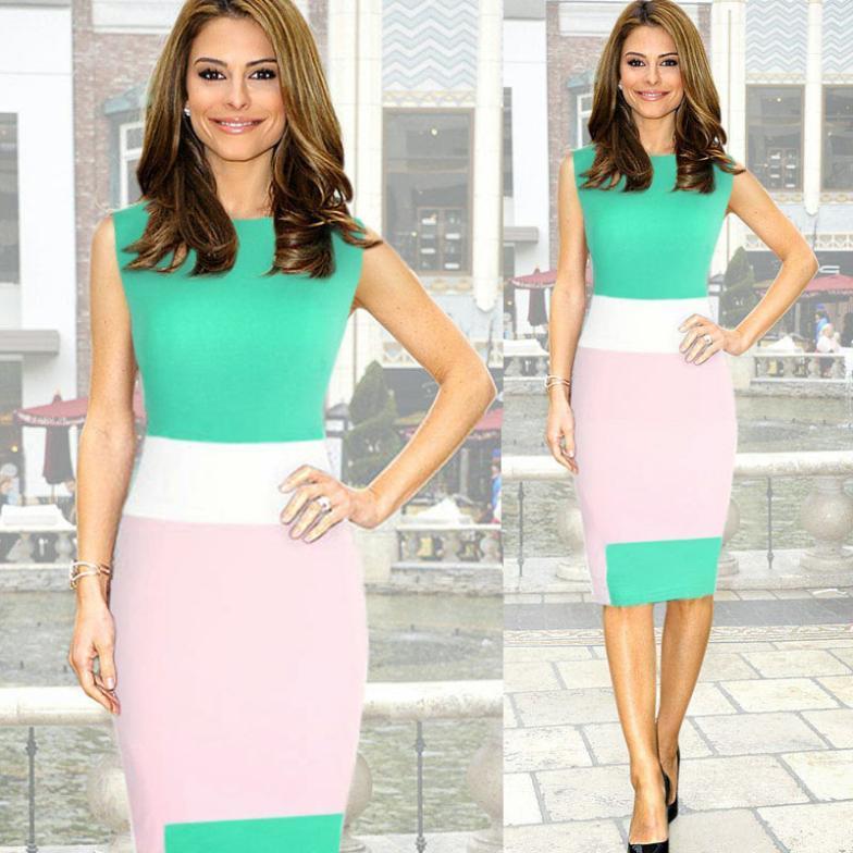 Gorąca wyprzedaż! Blokowanie kolorów Sukienka dla biznesu Kariera Kobiety Work Mini Bodycon Stretch Sukienka Zipper Dress Party Pencil Dress LQ4668
