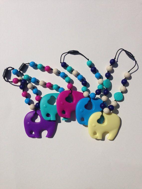 Moda Slepie Silikonowa ząbkowanie Naszyjnik, Elephant Naszyjnik do żucia Wisiorek
