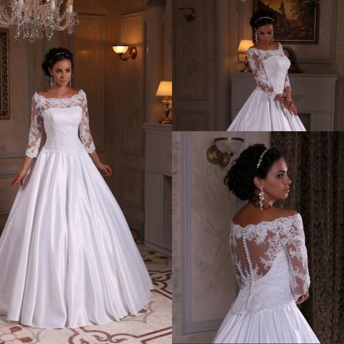 3bf2fba27f38 Discount Elegant Satin 3/4 Long Sleeve Wedding Dresses Floor Length Arabic  Fitted 2018 Plus Size Vestido De Noiva Bridal Gown Ball For Bride A Line  Formal ...
