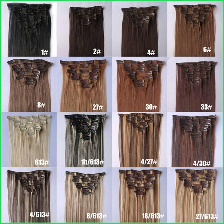 Instant Clip On Straight Synthetic Hair Wefts22 55cm Synthetic