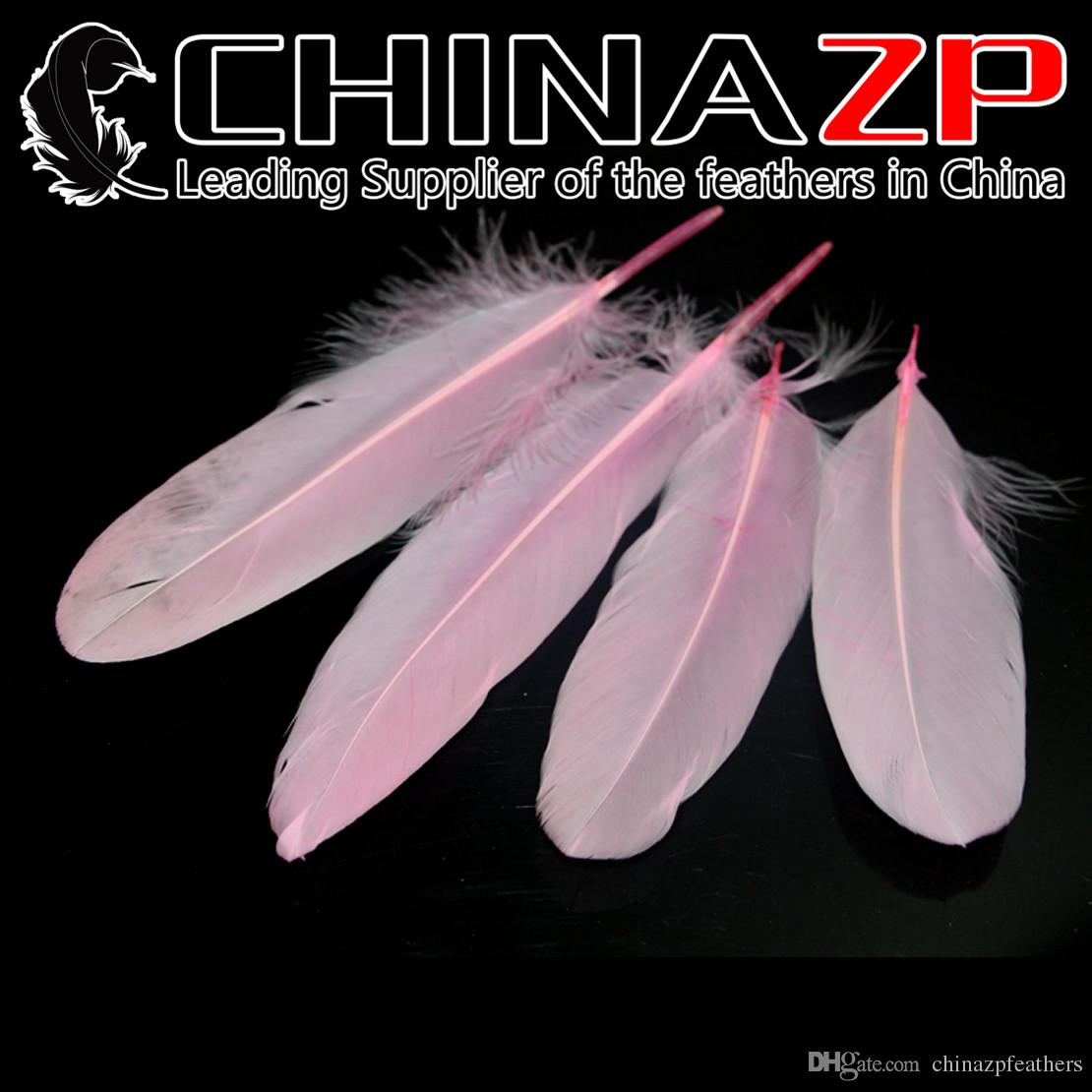 Leading Supplier CHINAZP Crafts Factory 10~15cm4~6inch Selected Top Quality Dyed Baby Pink Goose Satinettes Feathers for Mask Decoration
