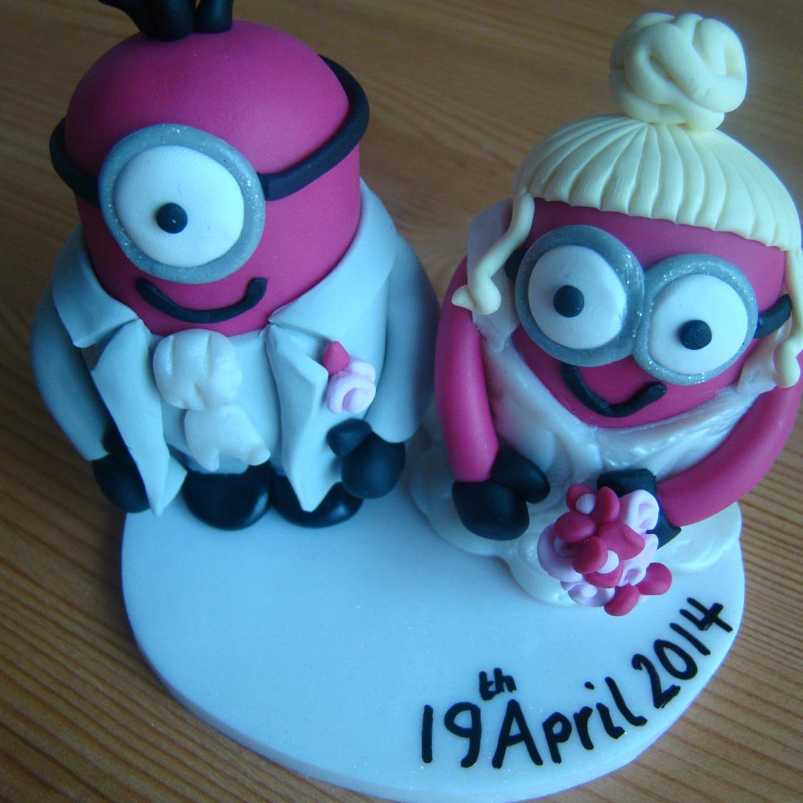 Dispicable Me Minions Wedding Cake Topper Table Centerpieces Custom Made Handmade 2015 Mrs Figurine Sculpture