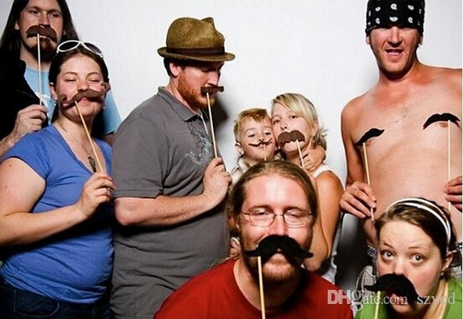 27 teile / satz Hochzeit Requisiten Auf Einem Stock Schnurrbart Photo Booth Halloween Party Geburtstag Spaß