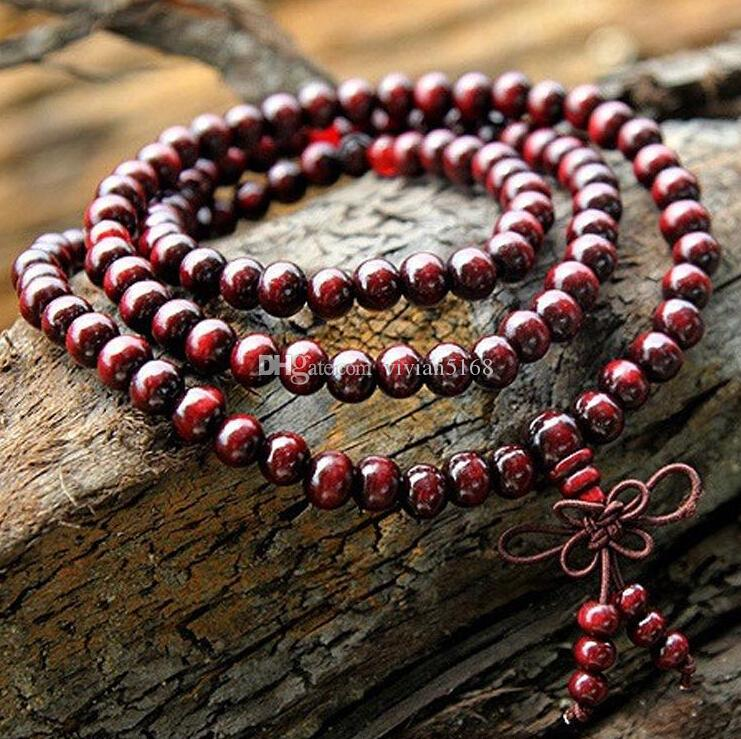 Fashion 108*6mm Buddhist Tibetan Decor Prayer beads Bracelet Bangle Wrist Ornament Wood Buddha Beads Women Jewelry Religion Charm