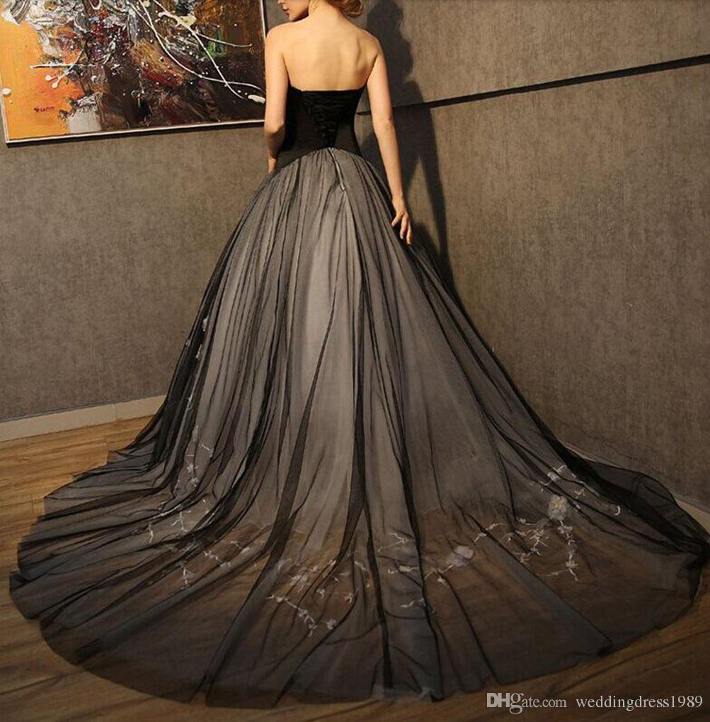 Zarif Siyah Çiçek Çiçek Gelinlik A-Line Örgün Tül Dantel Artı Boyutu 2018 Tren vestido de noiva Gelin Kıyafeti Balo
