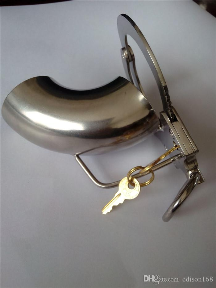 2018 Latest Male Open Type Stainless Steel Cock Penis Cage With Adjustable Cock Ring Chastity Belt Art Device BDSM Sex toys