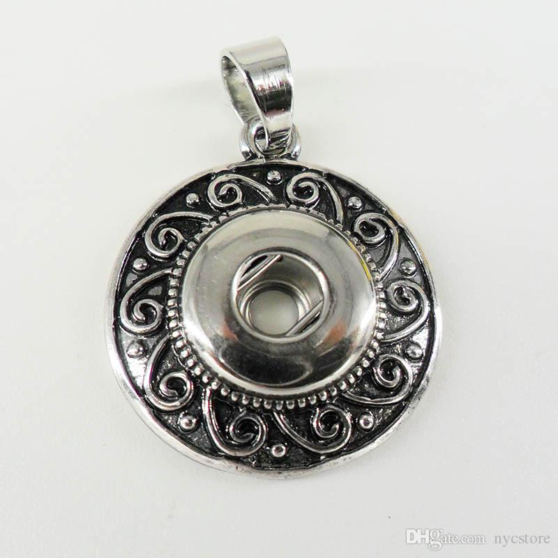 Antike silberne Blume NOOSA Stückmetalllegierung Ingwer-Schnellknopf-Anhänger-Halskette Austauschbarer Knopf Jewerly