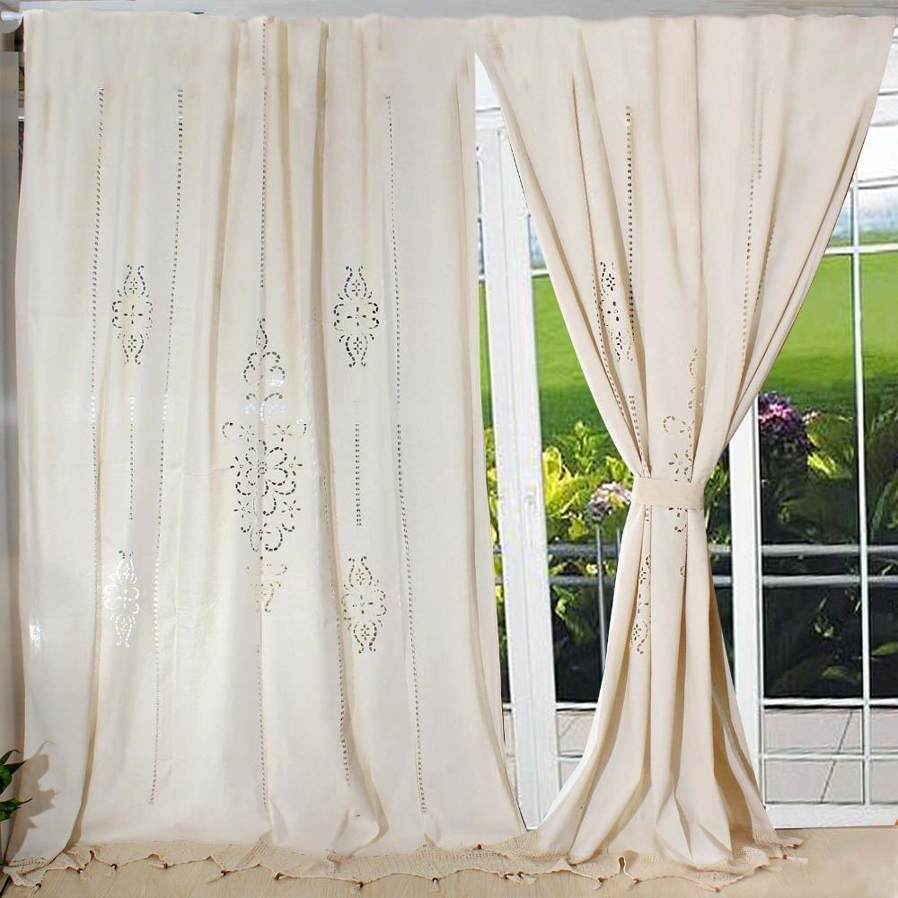 2018 Customize Tab Top Curtain Linen Lace French Country Cotton ...