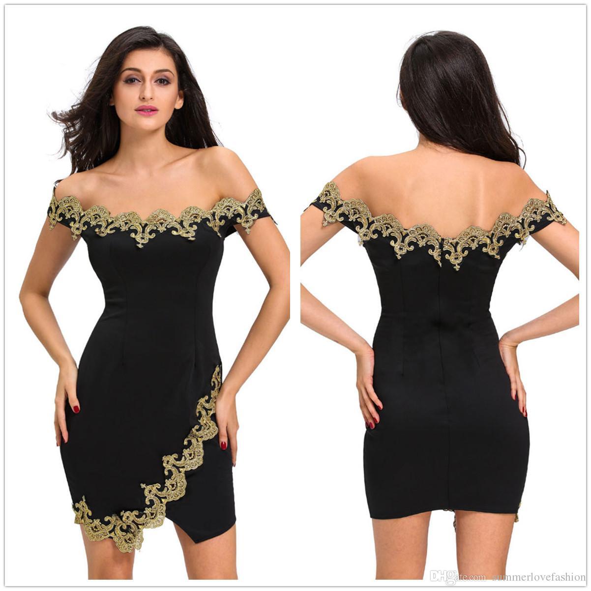 a21e39c2fa030 Off The épaule longueur au genou robes de cocktail de partie Gold Lace  Applique Split Club robe de soirée en noir violet rouge bleu vert