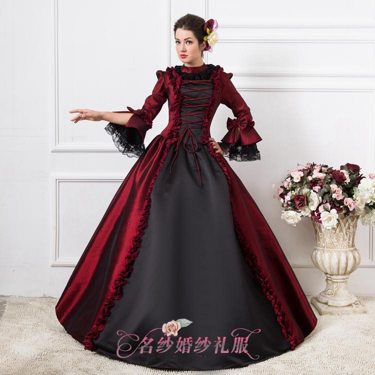 Luxury Wine Red Black Gothic Ball Gown Medieval Dress Renaissance ...