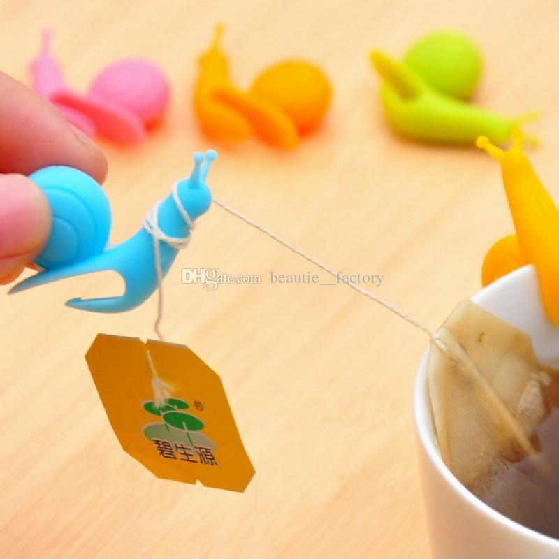 Милая улитка силиконовые чайные сумки инструменты держатель кубок кружка конфеты цвет подарок набор хороших 6 цветов
