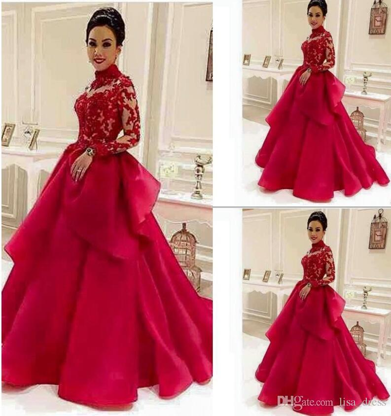 Glamorous 2017 Vermelho A Linha Vestidos de Baile com Mangas Compridas Alta Pescoço Sheer Lace Apliques Árabe Vestido de Noite Vestidos