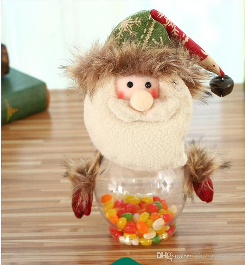 2017 venda quente decorações de natal festivo para papai noel veados boneco de neve jarro de doces decoração 10 * 25 cm frete grátis