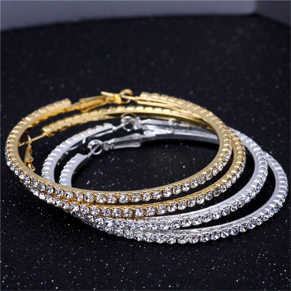 2019 Wholesale Gold Silver 70mm Single Row Basketball Wives Crystal  Rhinestone Hoop Earrings From Shemei 49f3cc8cd332