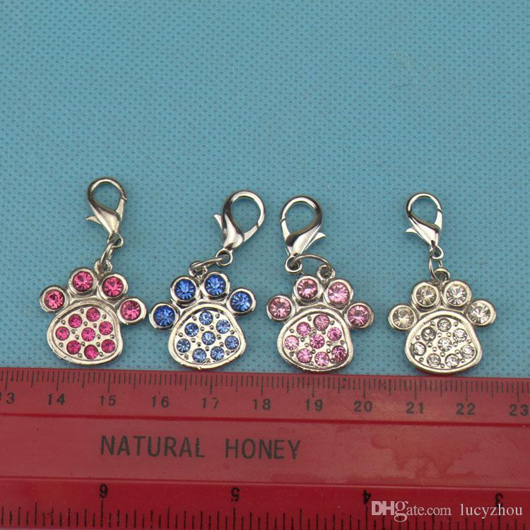 L Size Footprint Shape Pet Dog Cat Tag ID Czech Diamond Pet Pendant Fashion Dog Accessory Hotsale Fit Pet Collar Necklace