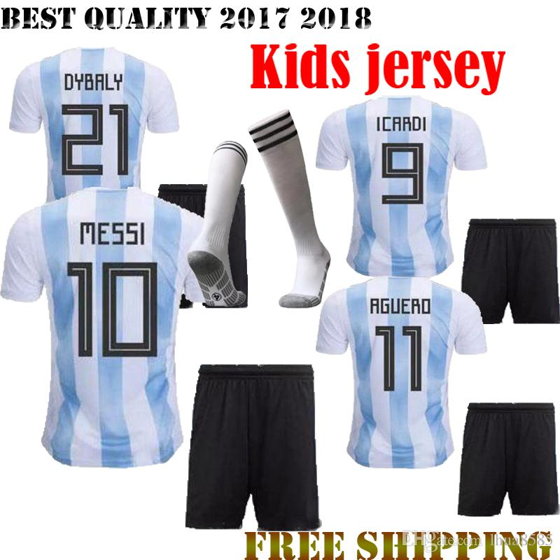 beb1e1855 Best Quality 2018 Argentina MESSI Kids Kit+sock Soccer Jersey 2018 World  Cup Home DI MARIA AGUERO Football Shirt Customize Soccer Jerseys Online  with ...